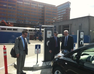 Mayor Mike McGinn talks shop with ECOtality Regional Manager Rich Feldman